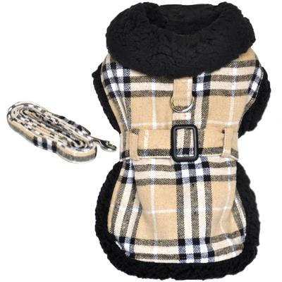 Designer Brown Plaid Classic Harness Coat & Matching Leash