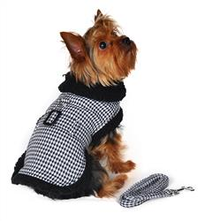 Designer Black & White Classic Houndstooth Dog Harness Coat with Matching Leash