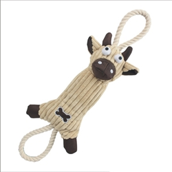 Squeak And Natural Jute Rope Dog Toy