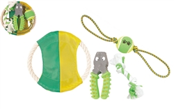4 PIECE JUTE ROPE AND RUBBERZIED DOG TOY SET