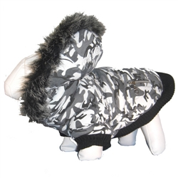 White Camo 3M Thinsulate Metallic Dog Jacket