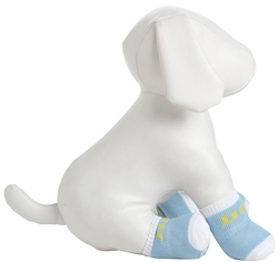 Blue And White Rubberized Pet Socks