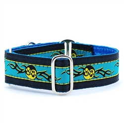 "1"" and 1.5"" Paw Yang Teal Satin Lined Collars & Leads"