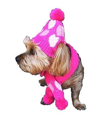Pink Hearts Hat/ Scarf