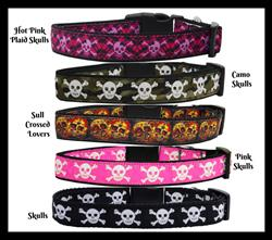 Skull Collection Nylon Ribbon Collars & Leads
