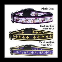 Mardi Gras Collection Nylon Ribbon Collars & Leads