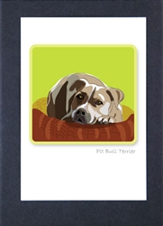 Pit Bull Terrier Head Down - Grrreen Boxed Note Cards