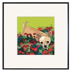 Framed Print: Chihuahua W/ Flowers