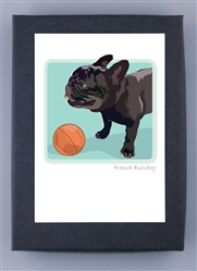 French Bulldog, Black  - Grrreen Boxed Note Cards