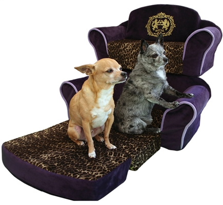 "Purple Pull Out Sleeper Sofa with ""Royal"" in Gold Glitter & Leopard Interior"