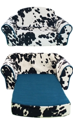 Cowprint Pull Out Sleeper Sofa with Turquoise Trim & Interior