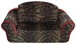Leopard Pull Out Sleeper Sofa with SangriaTrim & Interior