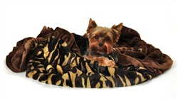 Camo Print Cuddle Blanket with Brown Ruffle Trim