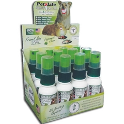 PetzLife Oral Care DISPLAY Travel SPRAY - 6 pcs, 3 pcs Peppermint Gel, 3 pcs Salmon Gel