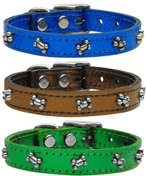 Metallic Bone Leather Collars