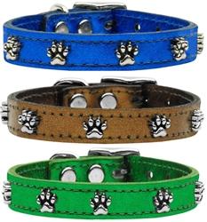 Metallic Paw Leather Collars