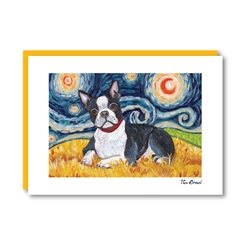 Van Growl Boston Terrier Note Card