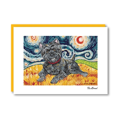Van Growl Cairn Terrier Dark Note Card