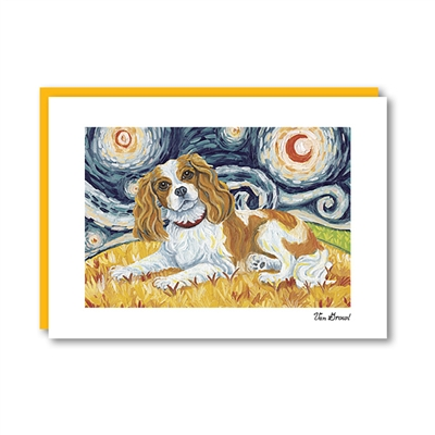 Van Growl Cavalier King Charles Spaniel-Blenheim Note Card
