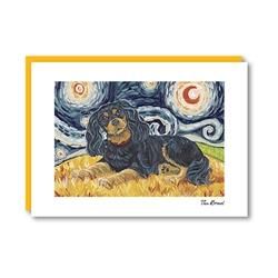 Van Growl Cavalier King Charles Spaniel-Black & Tan Note Card