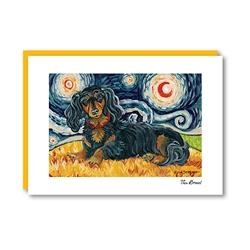Van Growl Dachshund Longhaired Black & Tan Note Card