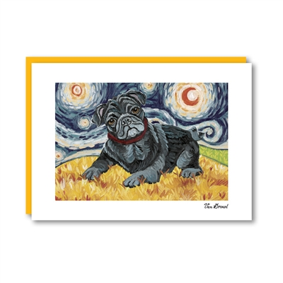 Van Growl Pug Black Note Card