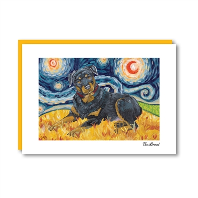 Van Growl Rottweiler Note Card