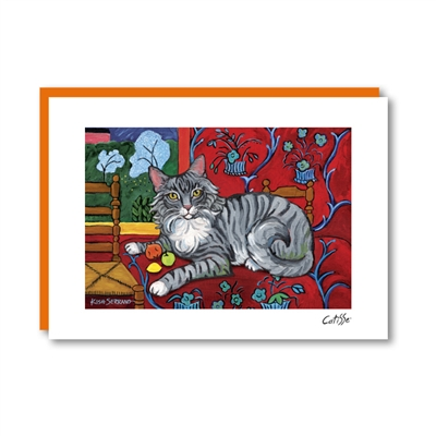 CATISSE Longhaired Grey Note Card