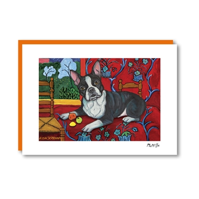 Muttisse Boston Terrier Note Card