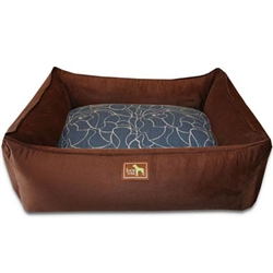 Chocolate Lounge Bed w/Scribble Indigo Cover