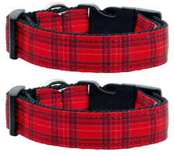 Red Plaid Nylon Ribbon Collar & Leash