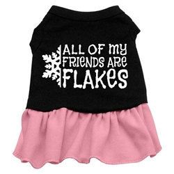 All my friends are Flakes Screen Print Two-Tone Dress