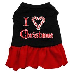 I Love Christmas Screen Print Two-Tone Dress