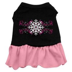 Pink Snowflake Screen Print Two-Tone Dress