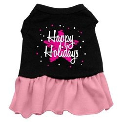 Scribble Happy Holidays Screen Print Two-Tone Dress