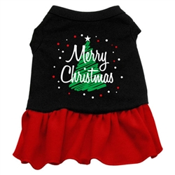Scribble Merry Christmas Screen Print Two-Tone Dress