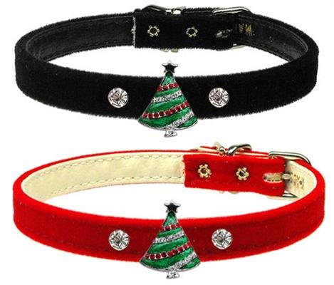 Christmas Tree Charm on 3/8 Velvet Collar