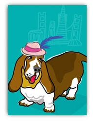 Blank Inside - Basset Hound and Hat