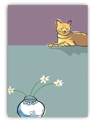 Sympathy: Brown Cat and Daisies
