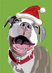 Pitbull W/ Santa hat