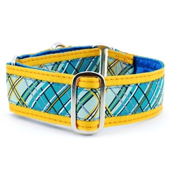 "1"" and 1.5"" Plaid Teal Satin Lined Collars & Leads"