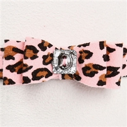 "Pink Cheetah Couture - 1/2"" Big Bow Collar"