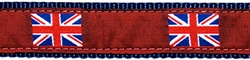 """British Flag on Red - 1.25"""" Collars, Leashes and Harnesses"""