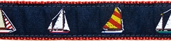 """Four Sailboats- 1.25"""" Collars, Leashes and Harnesses"""