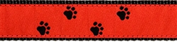 "Black Paws on Red- 3/4"" Collars, Leashes and Harnesses"