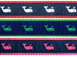 "Whale on Navy- 3/4"" Collars, Leashes and Harnesses"