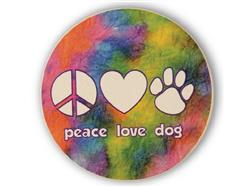 Peace, Love, Dog - Car Coaster