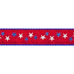 """Red Patriotic Stars - 1.25"""" Collars, Leashes and Harnesses"""