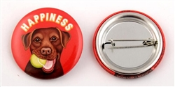 """Happiness"" Chocolate Lab Buttons"