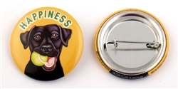 """Happiness"" Black Lab Buttons"